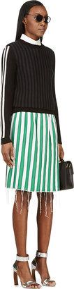 Thom Browne Green Silk Pressed Seam Skirt