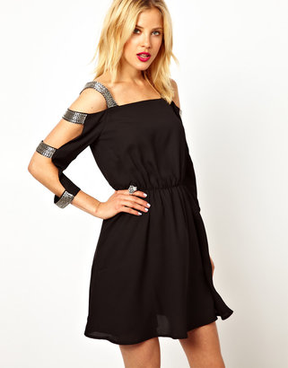 Asos Cold Shoulder Embellished Shift Dress