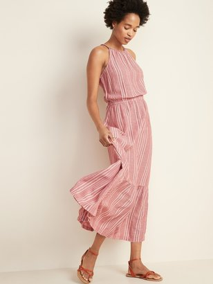 Old Navy Waist-Defined Braided-Strap Dobby Stripe Maxi Sundress for Women