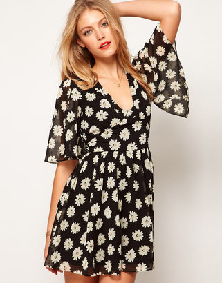 Asos Skater Dress In Daisy Print With Flute Sleeve