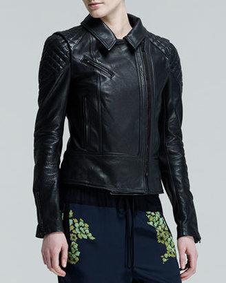 A.L.C. Tilberg Quilt-Shoulder Leather Jacket