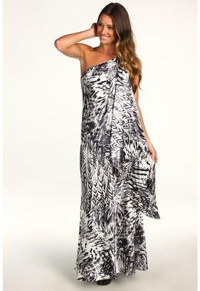 ABS by Allen Schwartz Printed Gown w/ Drop Sash Detail (Black) - Apparel