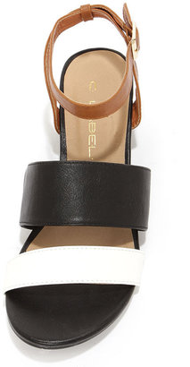 C Label Coco 5 Black and White Wedge Sandals