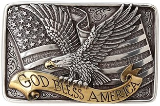 M&F Western God Bless America Buckle (Silvr/Gold) Belts