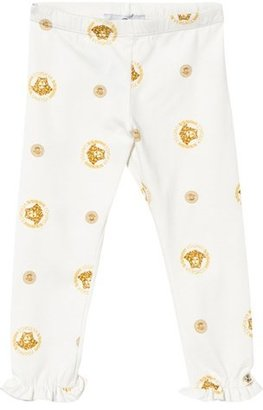 Young Versace White and Gold Bolli Print Leggings