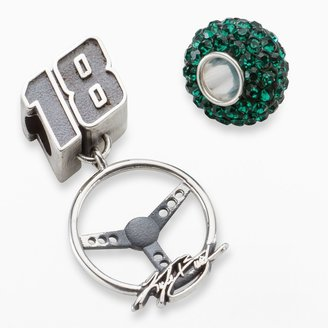 """Insignia Collection NASCAR Kyle Busch Sterling Silver """"18"""" Steering Wheel Charm & Crystal Bead Set"""