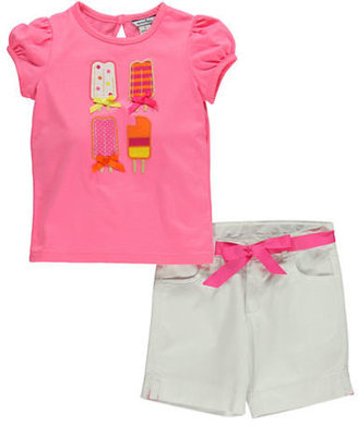 Hartstrings Girls 2-6x Applique Tee & Cotton Shorts Set