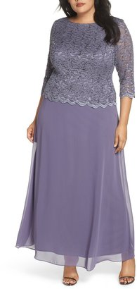 Alex Evenings Lace & Chiffon Gown