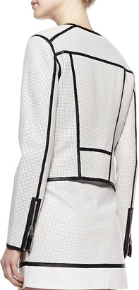 Richard Chai Andrew Marc x Perforated Leather Jacket