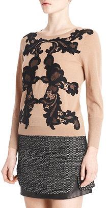 Diane von Furstenberg Shara Lace Applique Sweater In Black/honey Wheat