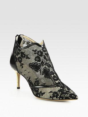 Nicholas Kirkwood Lace & Leather Ankle Boots