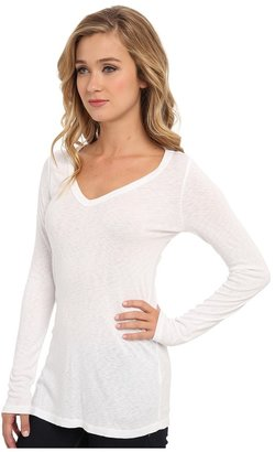 Michael Stars Slub Long-Sleeve V-Neck Tee Women's Long Sleeve Pullover