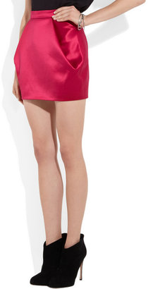 Balmain Folded satin mini skirt