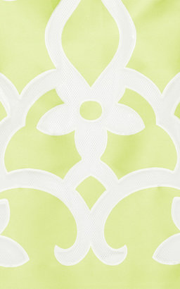 Ostwald Helgason Acid Lime Floral Jacquard Cocktail Dress