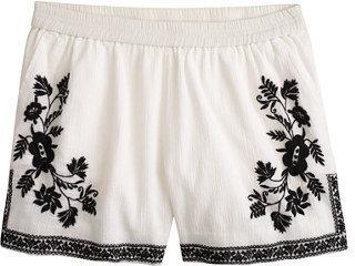 J.Crew Embroidered cotton gauze short