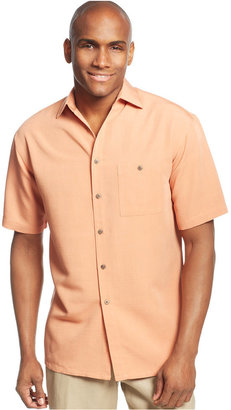 Campia Moda Short Sleeve Microfiber Soft Touch Solid Texture Shirt $45 thestylecure.com