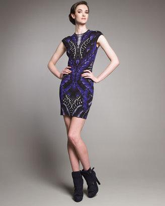 Alexander McQueen Butterfly Cap-Sleeve Dress