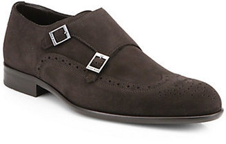 HUGO BOSS Brossio Double Monk Strap Suede Dress Shoes