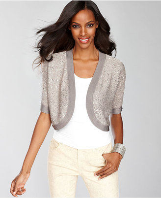 INC International Concepts Sweater, Short-Sleeve Sequin-Knit Shrug Cardigan