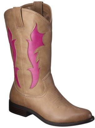 Xhilaration Women's Skye Tall Cowboy Boot with Flames - Tan/Pink