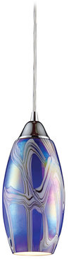 Iridescence 1 Light Pendant In Satin Nickel And Storm Blue Glass