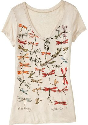 Old Navy Women's Watercolor-Graphic V-Neck Tees