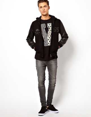 Asos T-Shirt With Varsity Print And Roll Sleeve