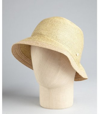 Grace Hats beige straw woven rhinestone stud 'Hiromi' sun hat