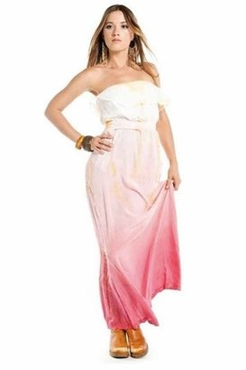 Gypsy 05 Kate Tube Maxi Ruffle Dress in Pink / Yellow
