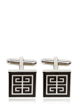 Givenchy Silver Brass With Black Enamel Cufflinks
