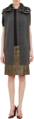 Fendi Fur-Collar Long Vest