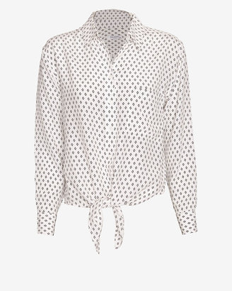 Equipment Exclusive Daddy Tie Front Prism Print Blouse