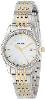 PULSAR Unisex PH7235 Analog Japanese-Quartz Two Tone Watch $145 thestylecure.com