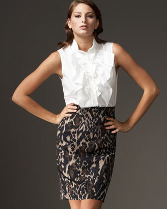 Elie Tahari Madison Leopard-Print Skirt