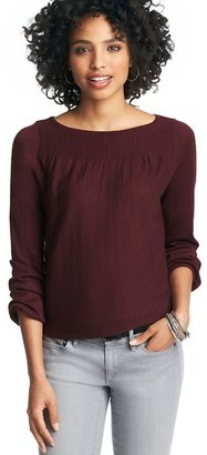 LOFT Petite Ribbed Yoke Drapey Sleeve Sweater