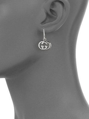 Gucci Sterling Silver Double G Drop Earrings