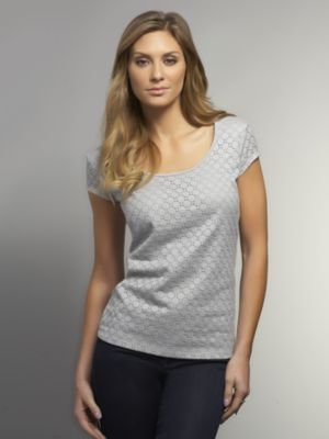 New York & Co. Lace Front Cap Sleeve Tee