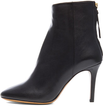 Isabel Marant Aliah Lambskin Leather Booties in Black