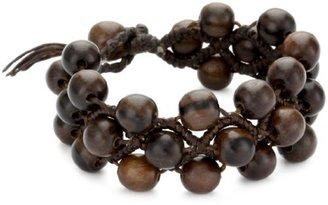 Tai Tripled Strand Brown Wood Beaded Bracelet