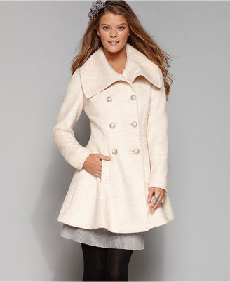 GUESS? Coat, Boucle Double Breasted Flare Wool Blend