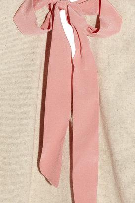 Miu Miu Silk-trimmed cotton and linen-blend top