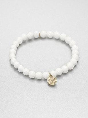 Sydney Evan Diamond & 14K Gold Sea Clam Beaded Stretch Bracelet