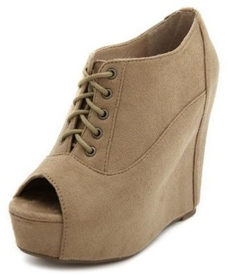 Charlotte Russe Sueded Lace-Up Wedge Bootie