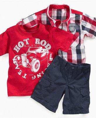 Nannette Kids Set, Little Boys Hot Rod Tee, Plaid Shirt, and Cargo Shorts Set
