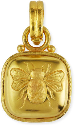 Elizabeth Locke 19k Cushion Gold Bee Pendant