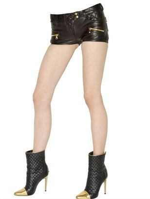 Balmain Quilted Nappa Leather Shorts