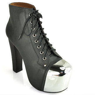 Jeffrey Campbell Lita Cap - Black Leather Platform Bootie