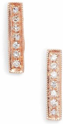 Sylvie Dana Rebecca Designs Rose Diamond Bar Stud Earrings
