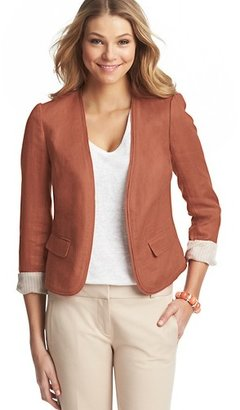LOFT Tall Puff Sleeve Herringbone Linen Jacket