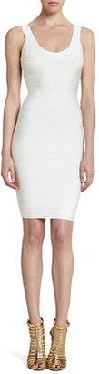 Herve Leger Basic Scoop-Neck Bandage Dress, Papyrus